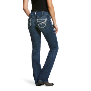 Mid rise straight leg stretch fit jean