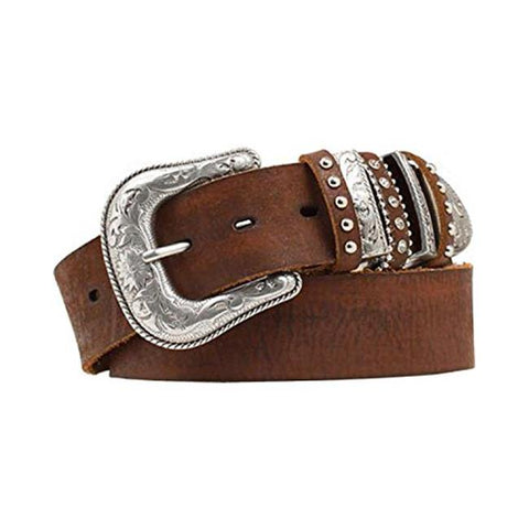 Ladies Brown Leather Belt with Multi Keepers and Western Style Buckle