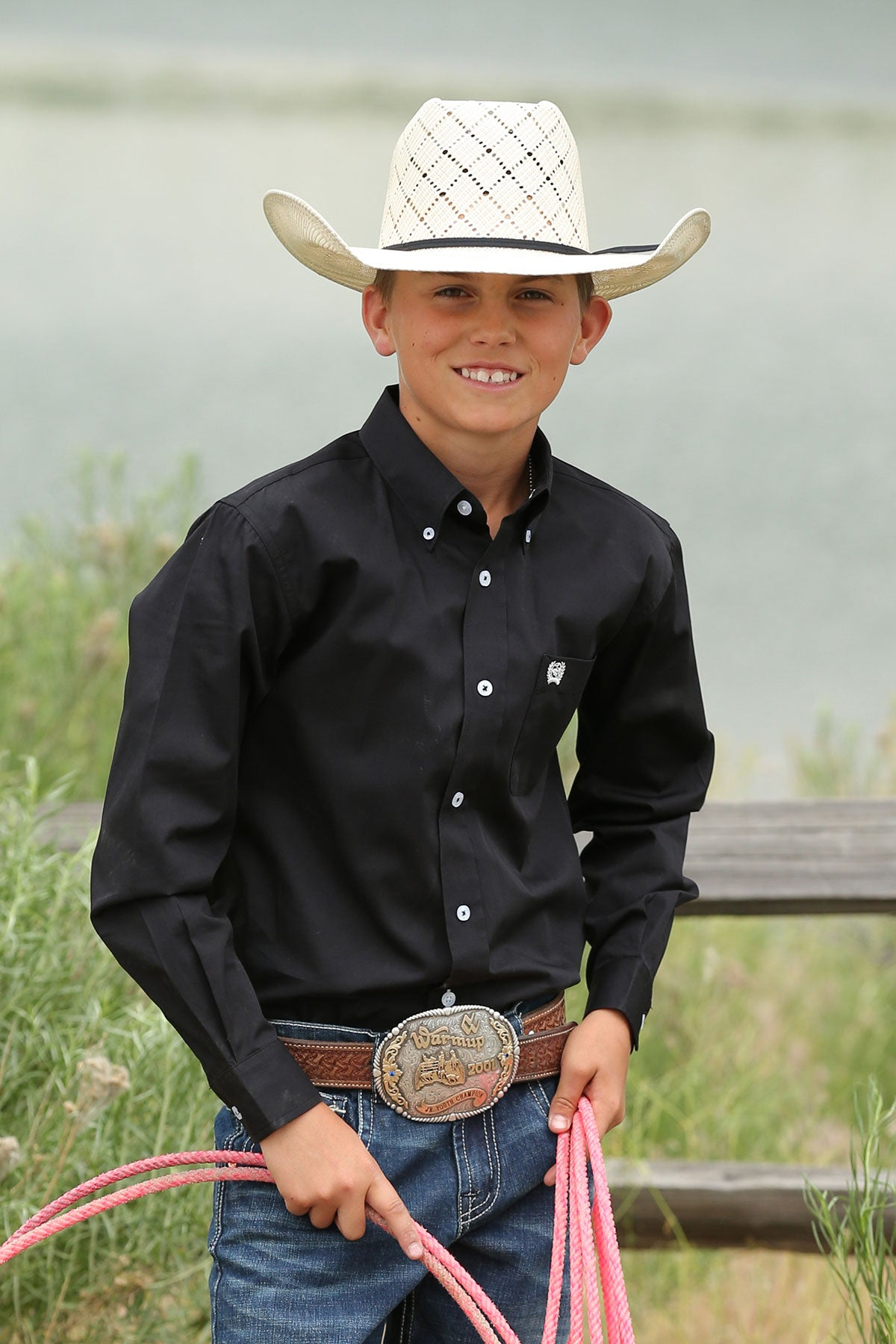 Boys Cinch Long Sleeve Button Up Shirt
