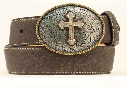 Ladies Distressed  Brown Leather Belt with Cross Buckle