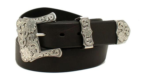 Ladies Black Leather Belt with Western Buckle