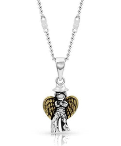 Montana Silversmiths 2 Toned Cowboy Angel Necklace