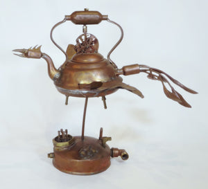 """Tea Bird"" copper sculpture"