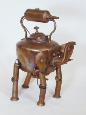 """Elephant Droid"" copper sculpture"