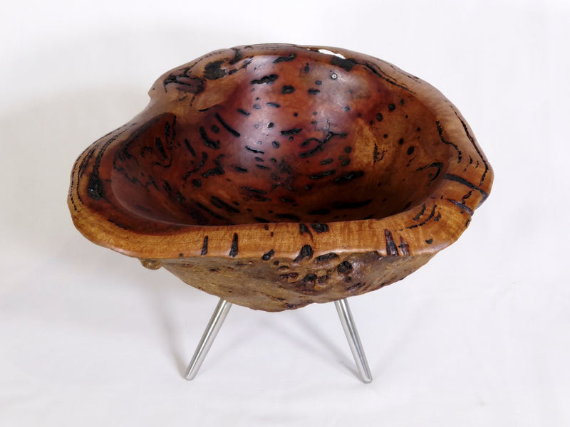 Burl bowl on stainless steel legs