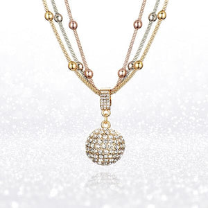 Gold Ball Necklace with Rhinestone Pendant