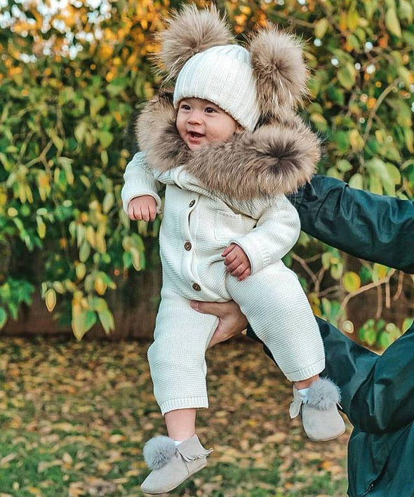 Baby Bear Rompers With Fur Collar