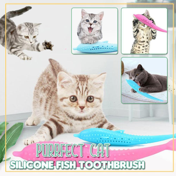 Purrfect Cat Silicone Fish Toothbrush