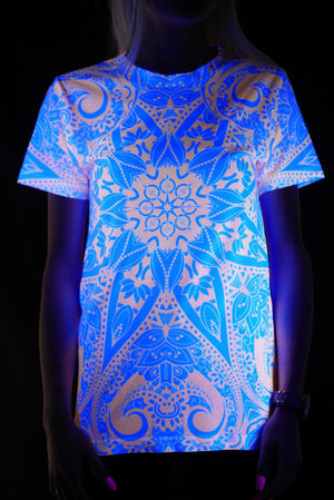 Neon Orange Lotus Mandala Unisex Crew T-Shirts Electro Threads