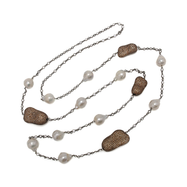 Semi-Precious Dark Crystal Pebbles and Pearl Necklace