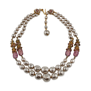 Miriam Haskell Pearls and Purple Crystals