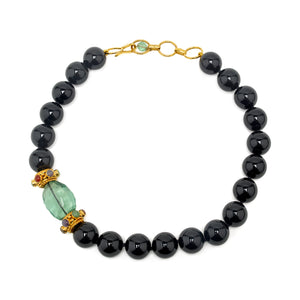 Semi-Precious Necklace Onyx and Fluorite