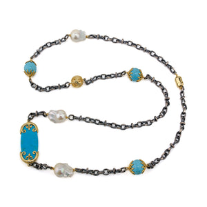 Merola Chain ~Turquoise and Pearl