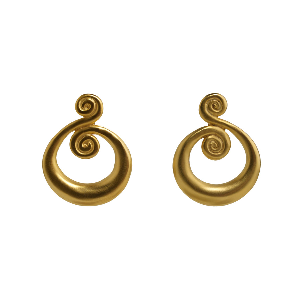 Earrings  Gold Swirl Hoops
