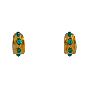 Earrings Green Cabochon Golden Hoops