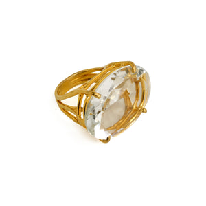 Semi Precious Large Stone Clear Quartz Ring