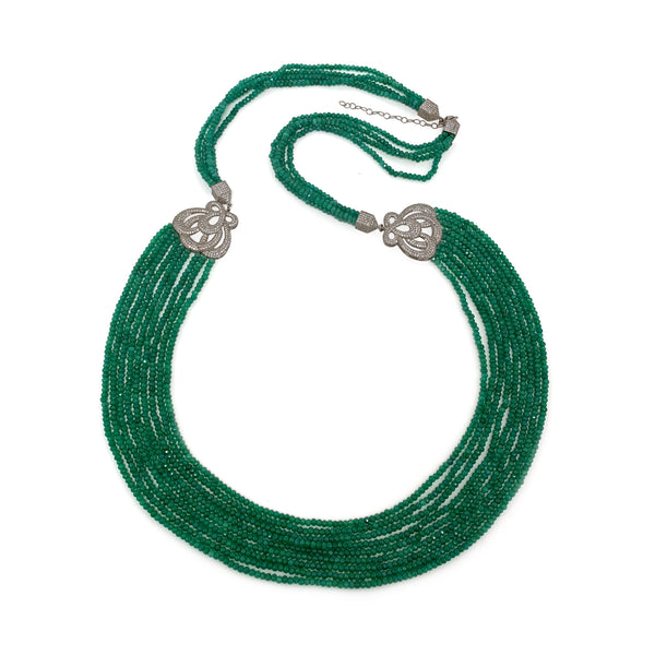 Necklace  Green Agates with Crystal Details