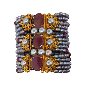 Semi-Precious Grey Perl and Ruby Bracelet