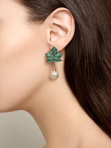 Earrings Leaf and Pearl