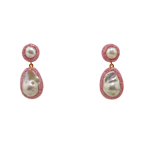Earrings Pink and Pearl