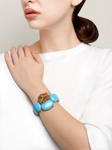 Aventurine Flower on Turquoise Cuff