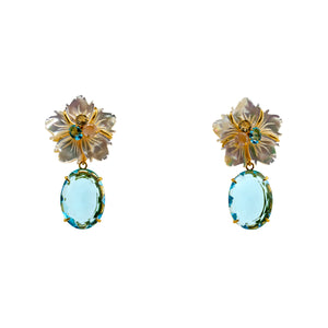 Semi-precious Earrings Flower and Topaz