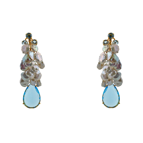 Semi-Precious Earrings Cascade and Blue