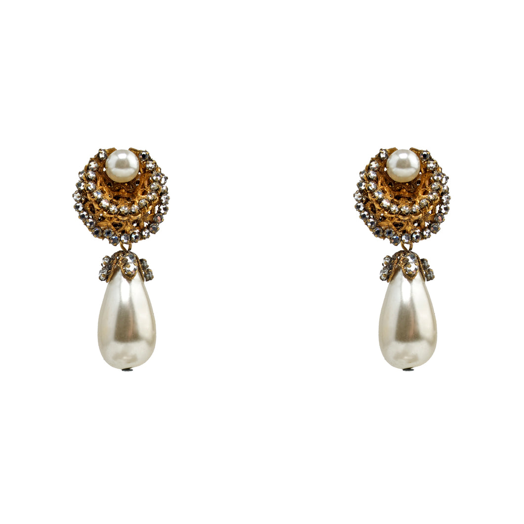 Miriam Haskell Vintage Pearl Drop Earrings