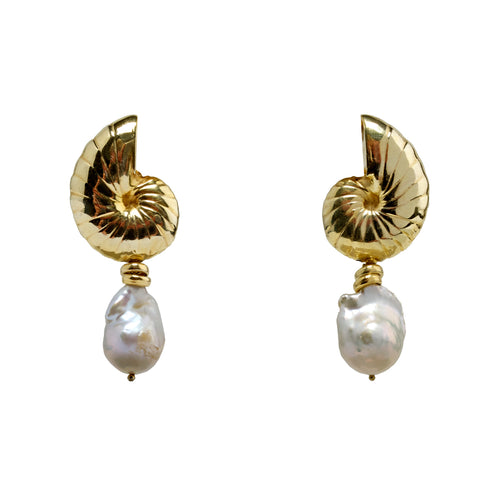 Earrings Golden Shell Drops