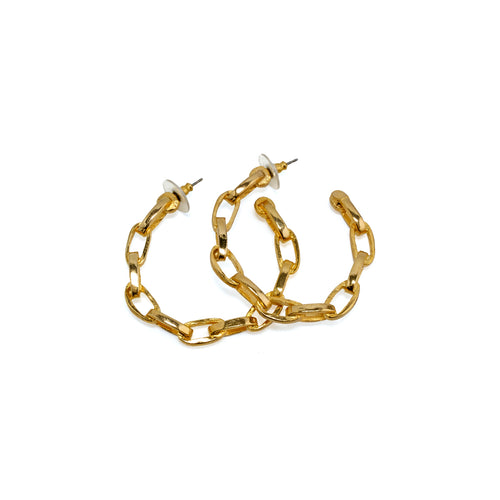 Earrings Gold Looped Chain Hoops
