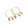 Earrings Gold Hoops Three shell