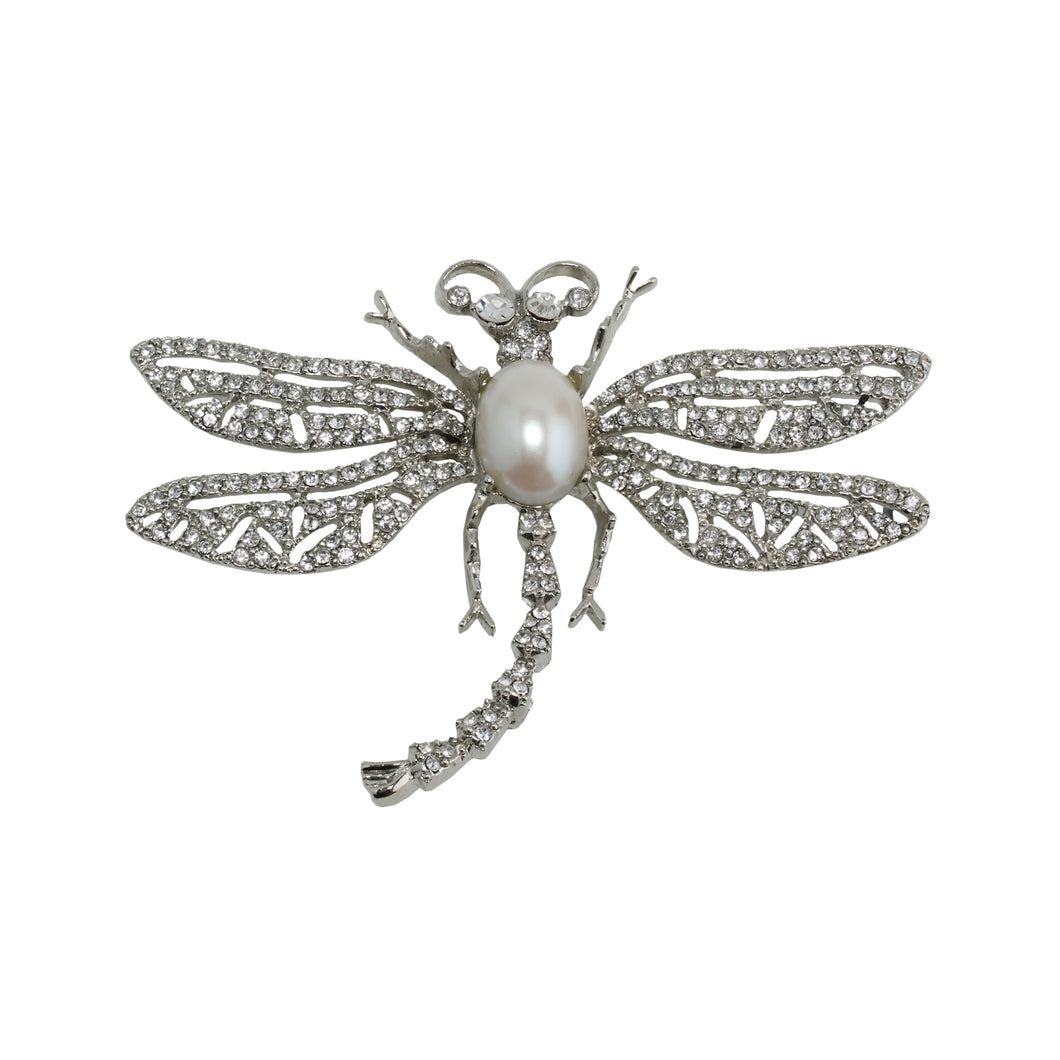 Brooch Dragonfly with Pearl