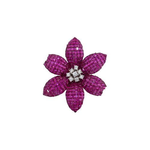Brooch Ruby Flower