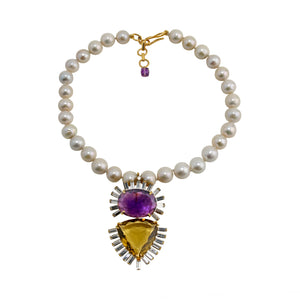 Necklace Amethyst and Citrine Pendant