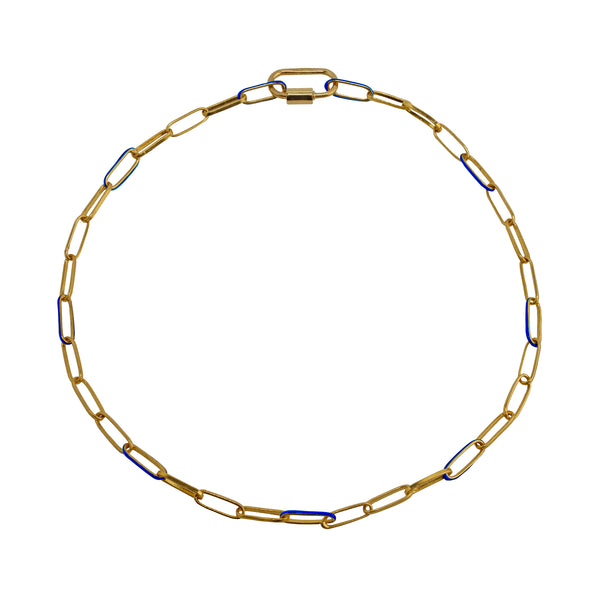 Necklace Gold and Blue Chain