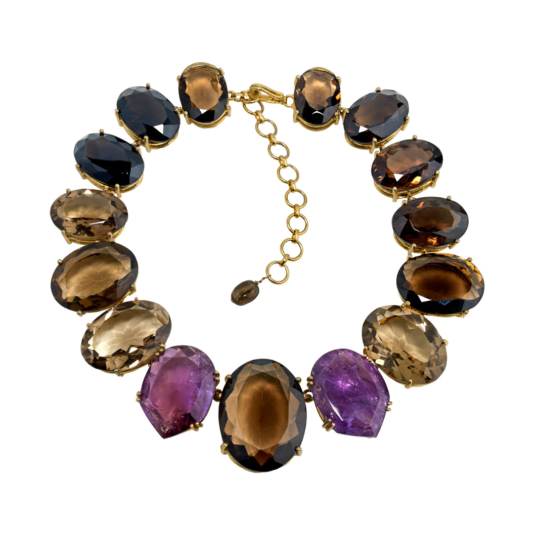 Semi Precious Necklace Topaz and Amethysts