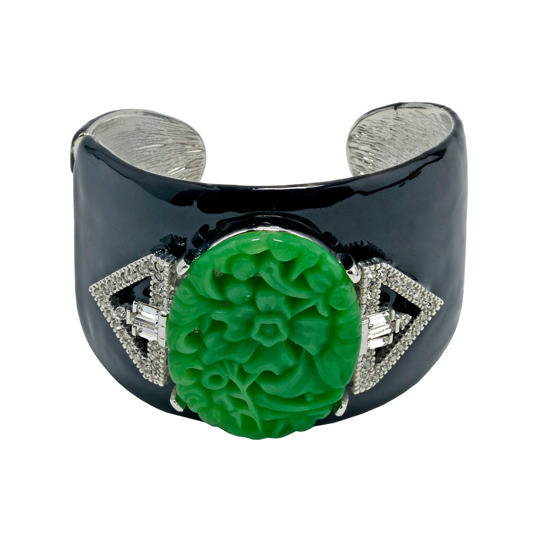 Art Deco Cuff in Jade Green and Black