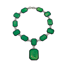 Load image into Gallery viewer, Art Deco Necklace Jade and Black