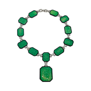 Art Deco Necklace Jade and Black