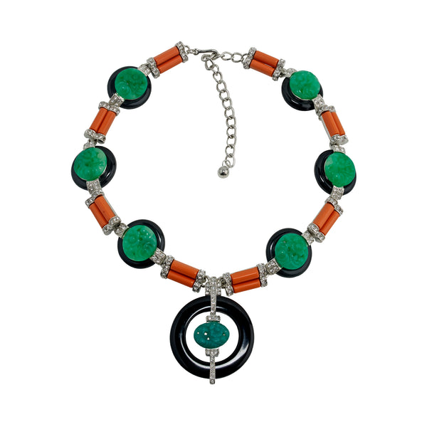 Art Deco Jade Coral and Black Necklace