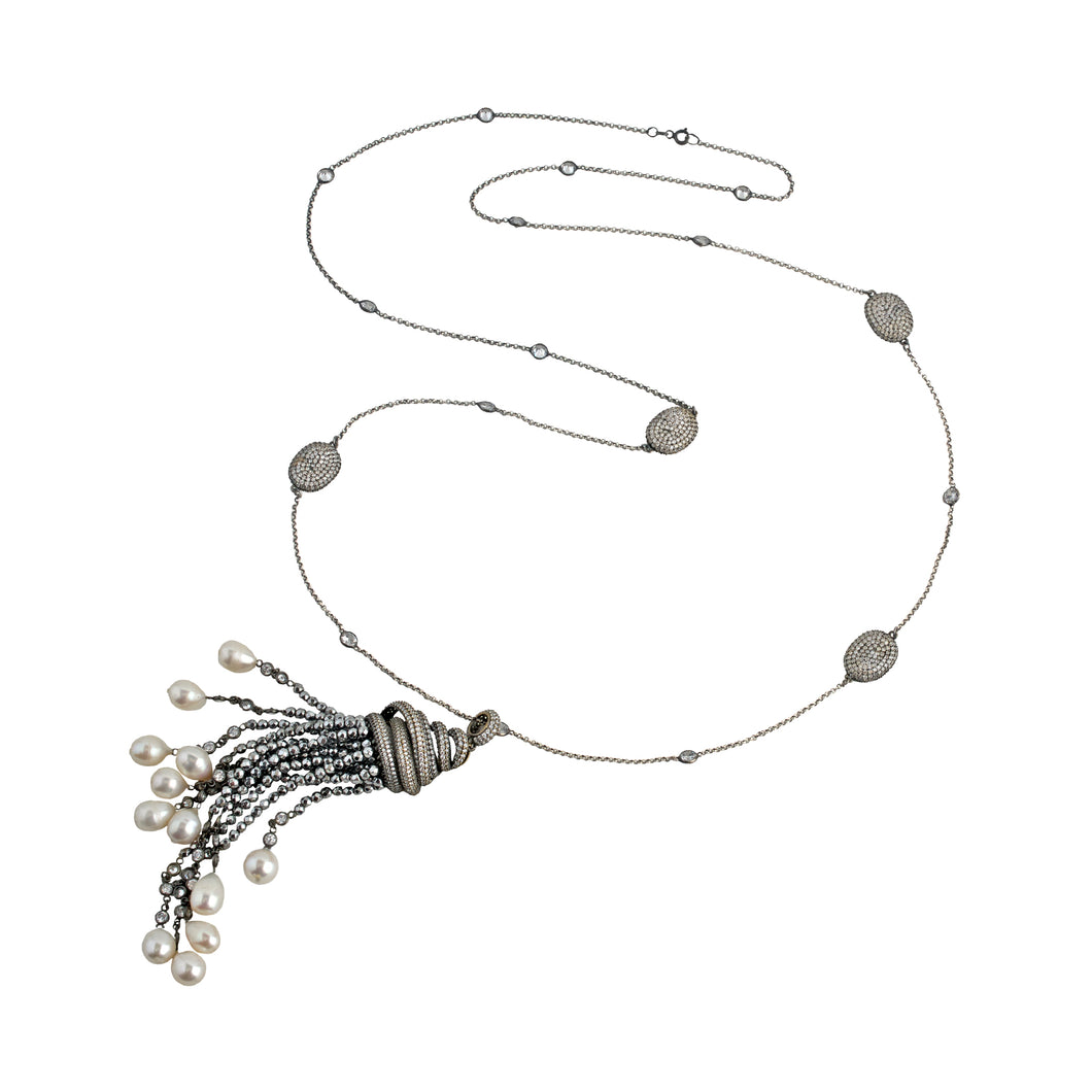 Necklace Silver and Pearl tassel