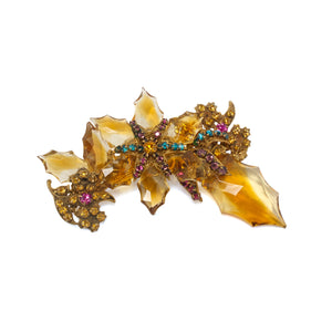 Vintage Miriam Haskell Golden Crystal Brooch and Earrings