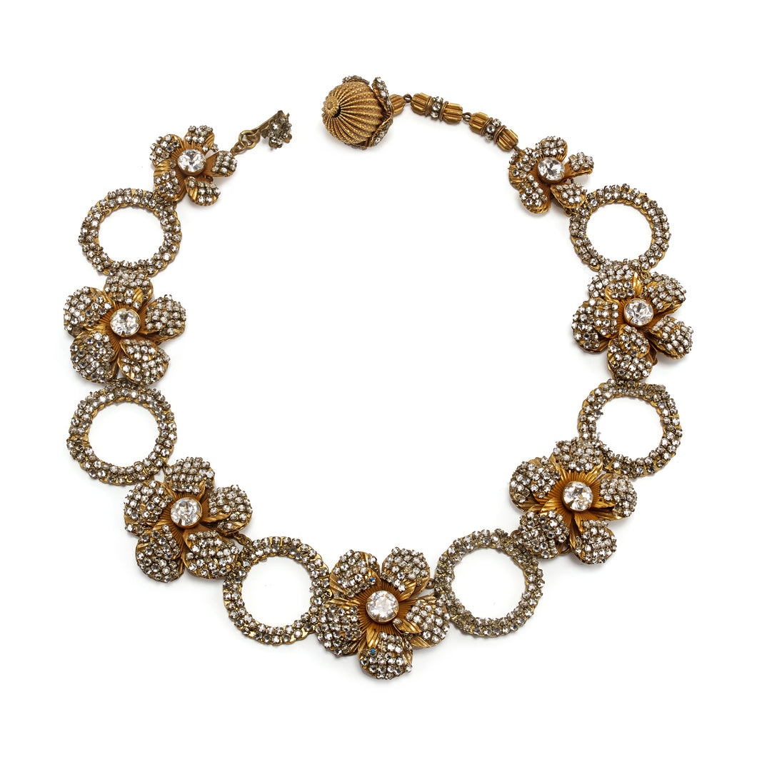 Miriam Haskell Floral Crystal Necklace