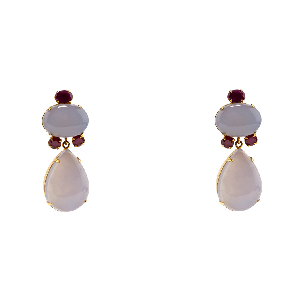 Semi-Precious Chalcedony and Ruby Earrings