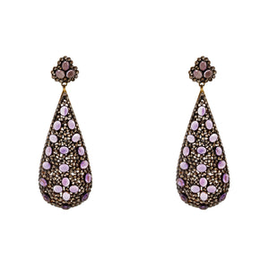 Semi-Precious Earrings Amethyst and Dark Diamonds