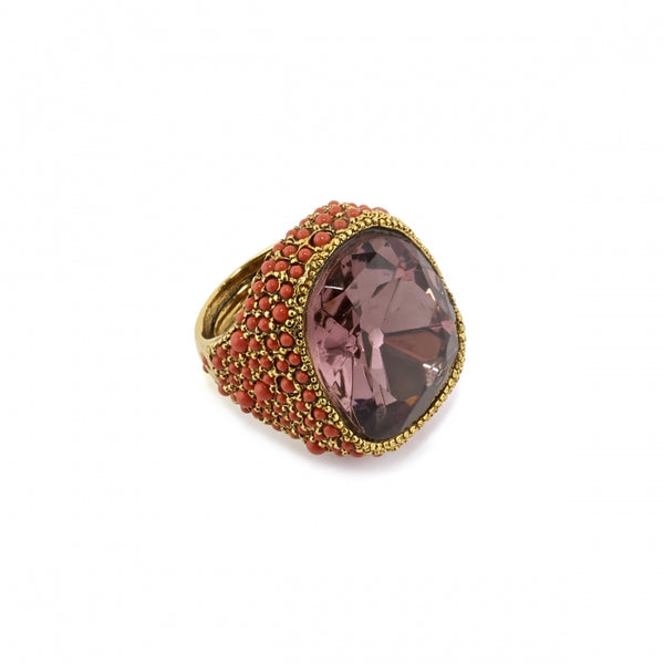 Headlight Ring in Coral and Amethyst