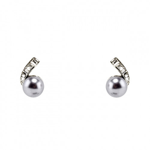Earrings Grey Pearl and Baguette
