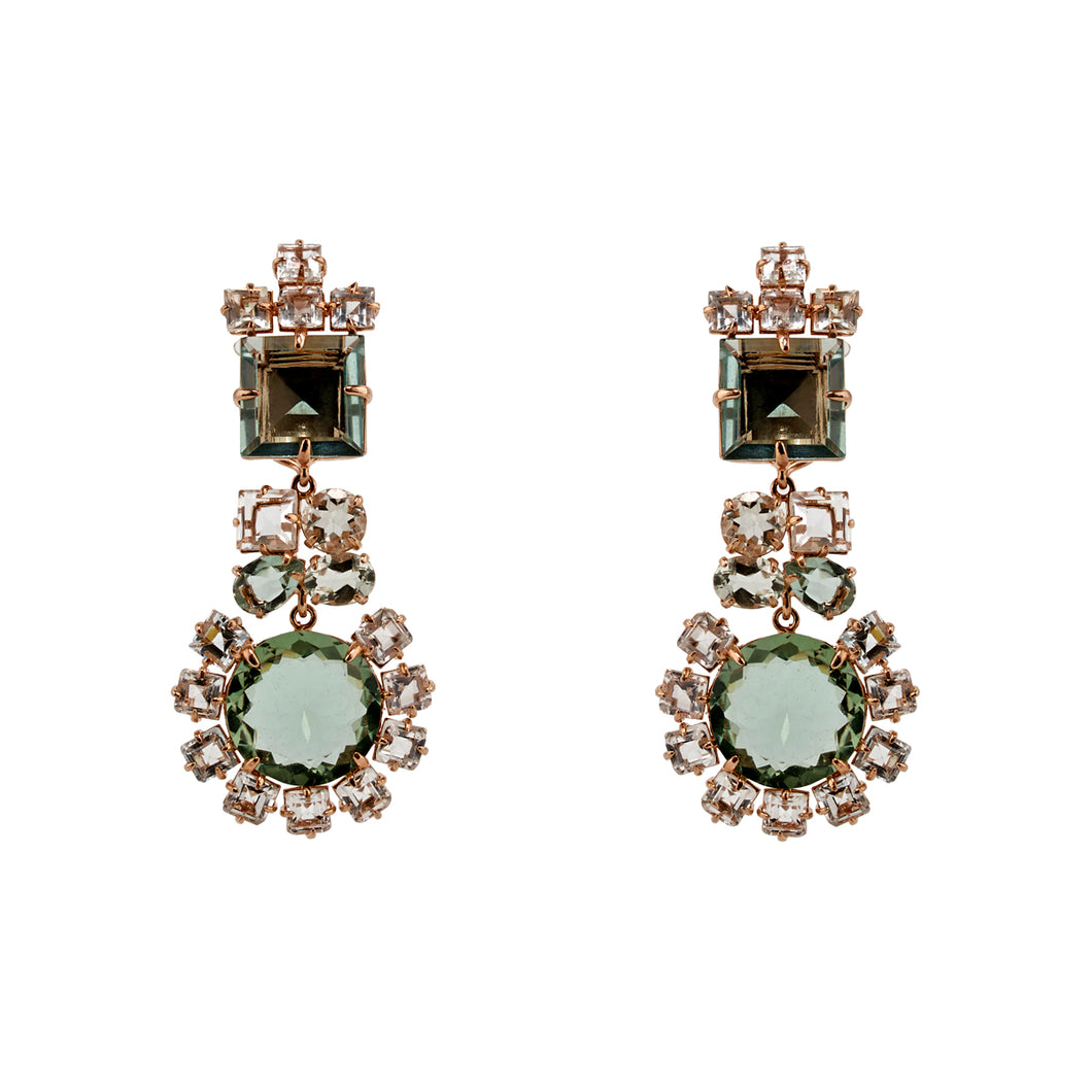 Semi-Precious Earrings Green Amethysts
