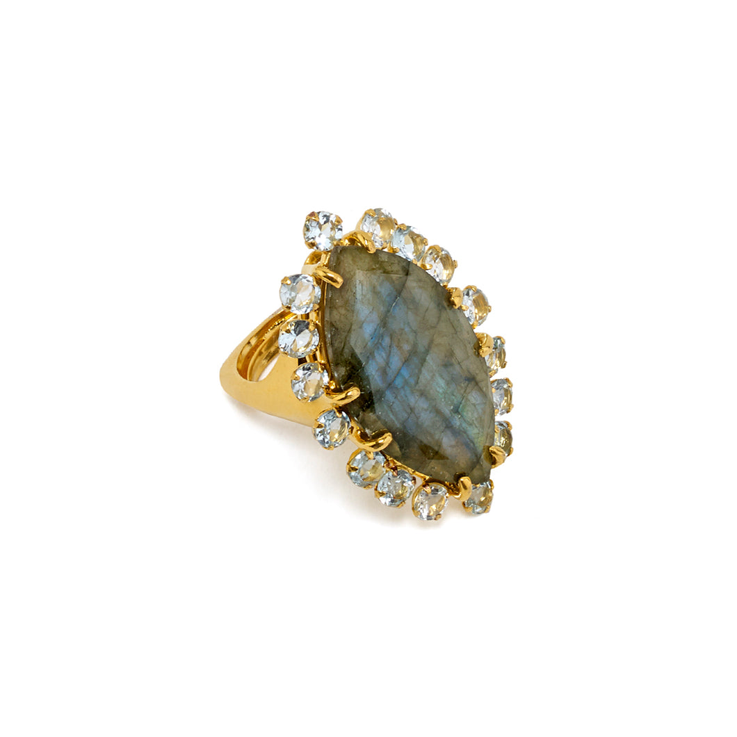 Labradorite and Blue Topaz Ring