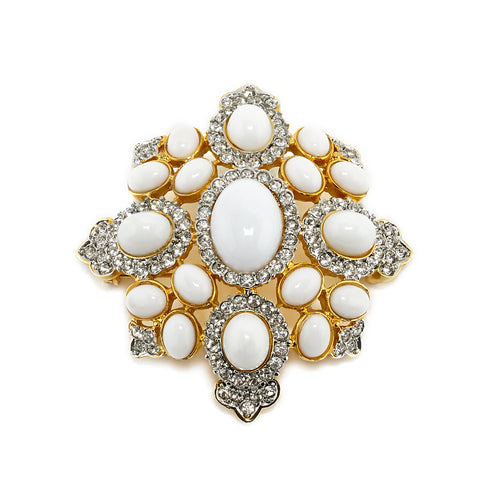 Cabochon Brooch in White